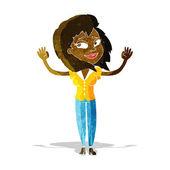 Cartoon woman giving up — Stock Vector