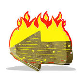 Cartoon burning direction arrow — Stock Vector