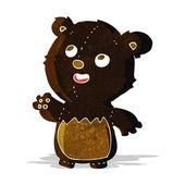 Cartoon happy little teddy black bear — Stock Vector