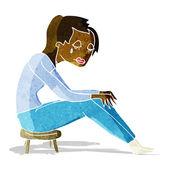Cartoon crying woman — Stock Vector