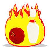 Dziesięć pin bowling kreskówka symbol ognia — Wektor stockowy