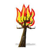 Cartoon tree on fire — Stock Vector