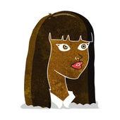 Cartoon vackra flicka med långt hår — Stockvektor