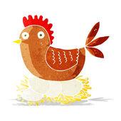 Cartoon hen on eggs — Stock Vector