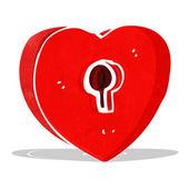 Cartoon heart with keyhole — Stock Vector
