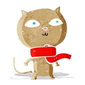 Cartoon funny cat wearing scarf — Stockvektor