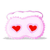Cartoon sleeping mask with love hearts — Vector de stock