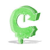 Cartoon melting recycling symbol — Stock Vector