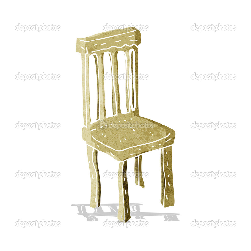 Chaise en bois vieux de dessin anim image vectorielle for Chaise dessin