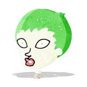Dibujos animados de cabeza femenina zombie — Vector de stock