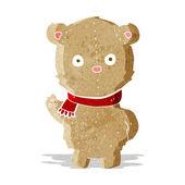 Cartoon teddy bear wearing scarf — Vector de stock