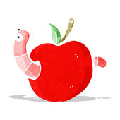 Cartooon worm in apple — Stock Vector
