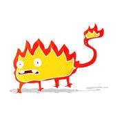 Cartoon little fire demon — Stock Vector
