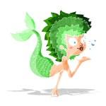 Cartoon mermaid blowing a kiss — Stock Vector #51748801