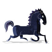 Cartoon running black stallion — Stock Vector