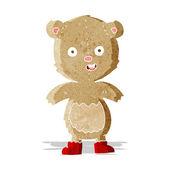 Cartoon happy teddy bear in boots — Stock Vector