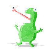 Cartoon-frosch-fang-fliege — Stockvektor