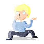 Ragazzo di cartone animato facendo danza folle — Vettoriale Stock
