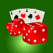Two red dices on a green background — Stock Photo