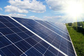 Power plant using renewable solar energy with sun — Stock Photo
