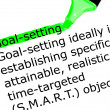 The word Goal setting highlighted in green with felt tip pen — Stock Photo #25332901