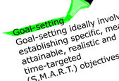 The word Goal setting highlighted in green with felt tip pen — Stock Photo