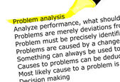 The word Problem highlighted in yellow with felt tip pen — Stock Photo