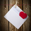 Hearts and blank envelop isolated on white background  — Stock Photo