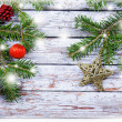 Christmas fir tree with decoration on a wooden board  — Photo