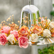 HydrangeFloral Arrangement over lampshade — Stock Photo #35580487