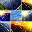 Power plant using renewable solar energy. Collage — Stock Photo #35580511