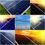 Power plant using renewable solar energy. Collage — Stock Photo