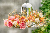 Hydrangea Floral Arrangement over lampshade — Stock Photo