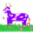 Purple cow in the meadow — Stock Photo #12658625