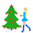 Beautiful Girl Dress up Christmas tree — Stock Photo #12658728