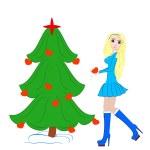 Beautiful Girl Dress up Christmas tree — Stock Photo #12658728