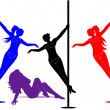 Silhouette of a sexy girl dancing on a pole — Stock Photo