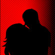 Black silhouette of a guy and girl kiss — Stock Photo