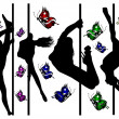 Set of black silhouettes of dancing girls strip and bright butterflies — Stock Photo