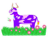 Purple cow in the meadow — Stock Photo