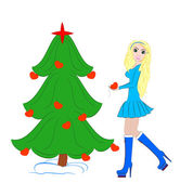 Beautiful Girl Dress up Christmas tree — Stock Photo