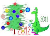Drak karikatura vánoční — Stock fotografie