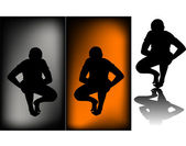 Black silhouettes of a man sitting — Stock Photo