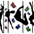 Set of black silhouettes of dancing girls strip and bright butterflies — Stock vektor