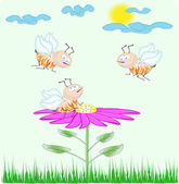 Bumble-bees or mosquitoes on summer or spring landscape — Stock Vector