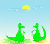 Green satisfied dragons on sand by a warm sun day. — Stock Vector