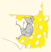 Replete rat on cheese — Vector de stock