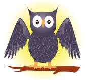 Grey owl on a branch — Stock Vector