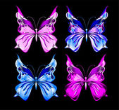Butterflies on a black background — Stock Vector