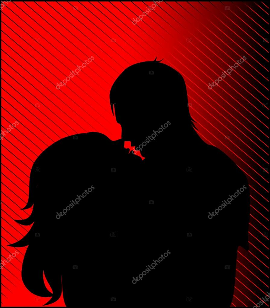 Black silhouette of a guy and girl kiss — Stock Vector #13257320